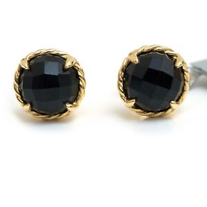 Details About Nwt David Yurman 8mm Claine 18k Yellow Gold And Black Onyx Stud Earrings