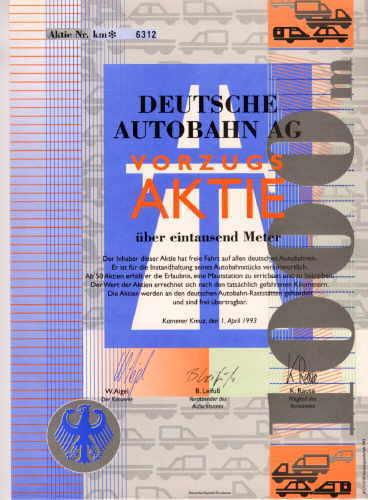 Deutsche Autobahn Scherz Aktie 1.April 1993 Kamener Kreuz Geschenk Überraschung