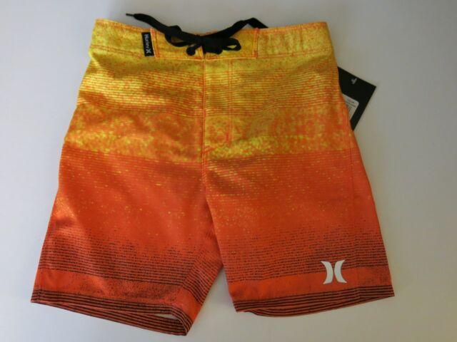 NWT Hurley Boys Board Surf Shorts Orange Yellow Hyper Zion Beach Swim 4//5//6//7