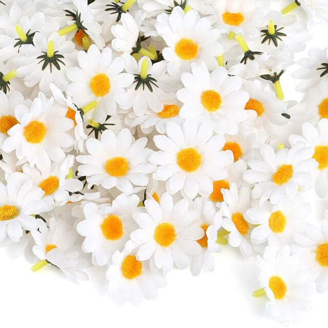 100pcs Artificial Gerbera Daisy Flower Heads For Diy Wedding Party Plastic White