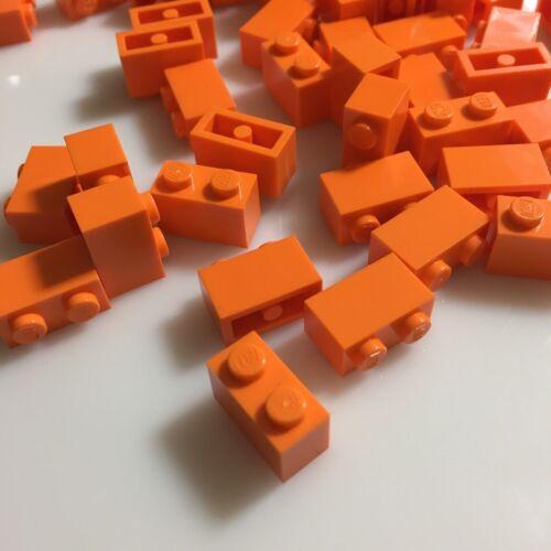 50 NEW LEGO 1x2 Bright Orange (Orange) Bricks (ID 3004/4121739)