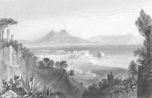 Italy NAPOLI BAY OF NAPLES MOUNT VESUVIUS CASTEL NUOVO, 1841 Art Print Engraving