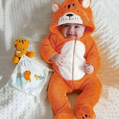 0-18M Infant Baby Boy Girl Kid Cartoon Fleece Hooded Long Sleeve Romper Jumpsuit