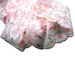 RUBAN DENTELLE GALON ROSE ET BLANC FLEURI COUTURE MARIAGE 9cm PAR 5 ou 10 mètres