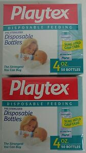 Cheap Price Playtex 4oz Disposable Bottles Pre Sterilized 50 Bottles Per Box Lot Of 3 Boxes Bottle Feeding Feeding