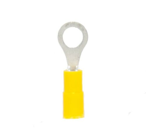 50 Yellow 24-20 AWG Gauge Vinyl Insulated Ring Terminals #8 Stud
