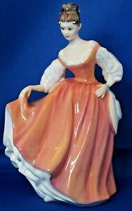Vintage-Porcelain-Royal-Doulton-HN-2835-Fair-Lady-20cm-Tall-Coral-Pink-Figurine