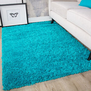Image Is Loading Teal Blue Gy Rug Non Shed Thick 50mm