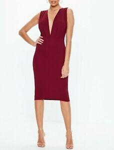 MISSGUIDED-Burgundy-Plunge-Gathered-Midi-Dress-UK-12-US-8-EU-40-camg217