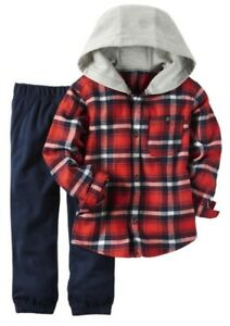605c64902 Carter's Boys Red Plaid Flannel Hooded Button Down & Navy Pants 2pc ...