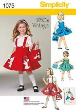 SIMPLICITY SEWING PATTERN CHILD'S 1950's VINTAGE DRESS SKIRT & BAG 3 - 8 1075 A