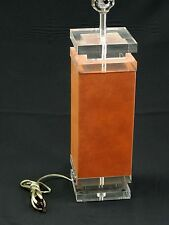 """BEST CHIC 70s ARCHITECTURAL """"SUEDE"""" WRAPPED LUCITE LAMP + ORIGINAL SHADE"""