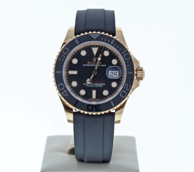 Rolex Yacht Master Black Dial 18k Everose Gold 40mm Automatic Watch 116655