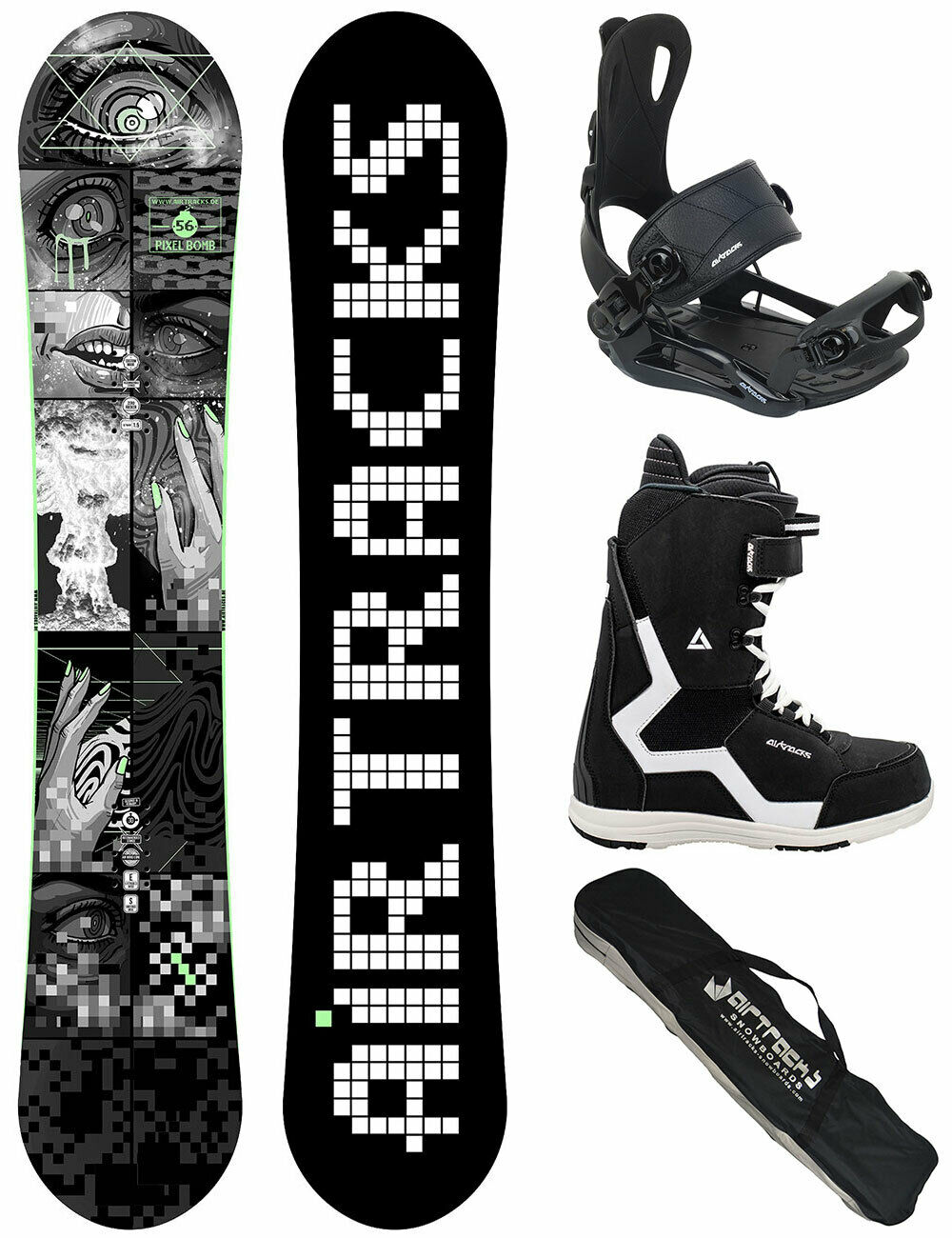 AIRTRACKS Snowboard Set Pixel Bomb Carbon+Bindung Master+Stiefel+Bag 153 158 163cm