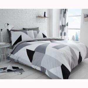 Sydney-Geometrique-Set-Housse-de-Couette-Double-Literie-Noir-Blanc-Gris