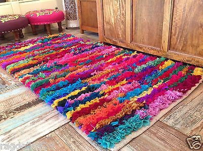 SHAGGY RECYCLED RAG RUG HAND LOOMED INDIAN BRIGHT MULTI COLOURS STRAIGHT EDGE