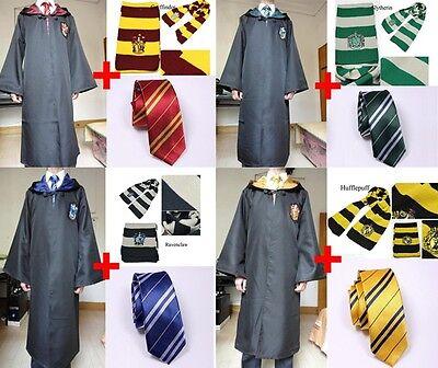 Harry Potter Adult Gryffindor/Slytherin/Hufflepuff/Ravenclaw RobeCloak Scarf Tie