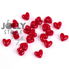 Red Heart shaped Pony Beads 100pc made in USA with large 4mm vertical hole