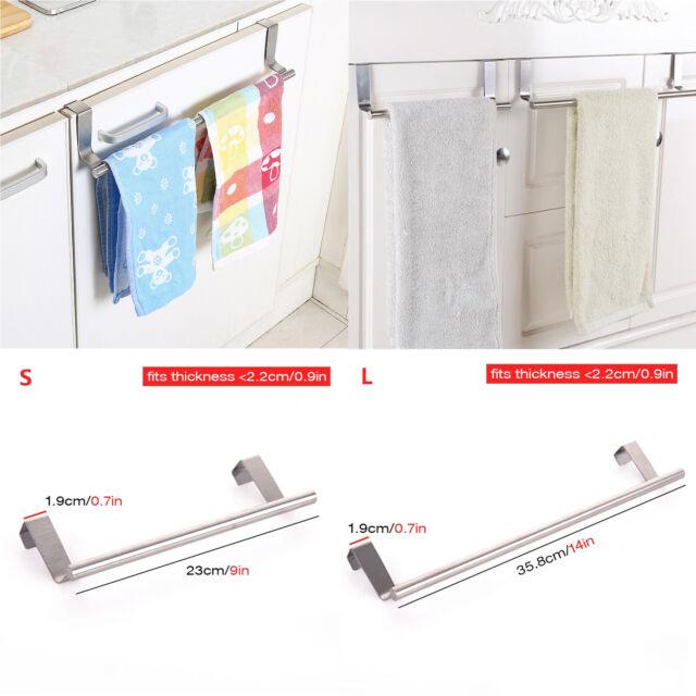 Over Door Towel Hanger Rack Shower Under Cupboard Hook Shelf Bathroom Kitchen