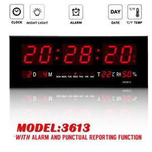 Big Red Led Digital Jumbo Wall Calendar Temp Humidity Alarm Clock