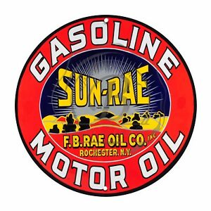 Vintage Garage Sign Metal Decor Gas And Oil Sign Sun Rae Motor Oil