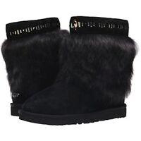 Ugg Australia Women's Black Vilet Crystal Toscana Lamb Fur Trimmed Boots 8