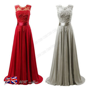 Image Is Loading Uk Chiffon Lace Wedding Red Bridesmaid Dresses Formal