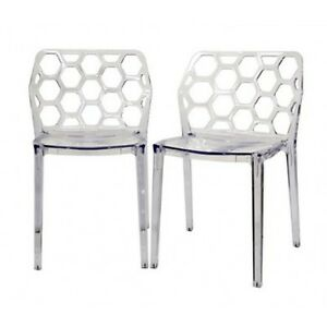 Image Is Loading Honeycomb Acrylic Modern Dining Chair Set Of 2