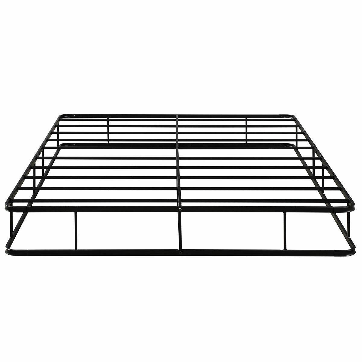 9 Inch Platform Low Profile Bed Frame Steel Slat Mattress Foundation King Home