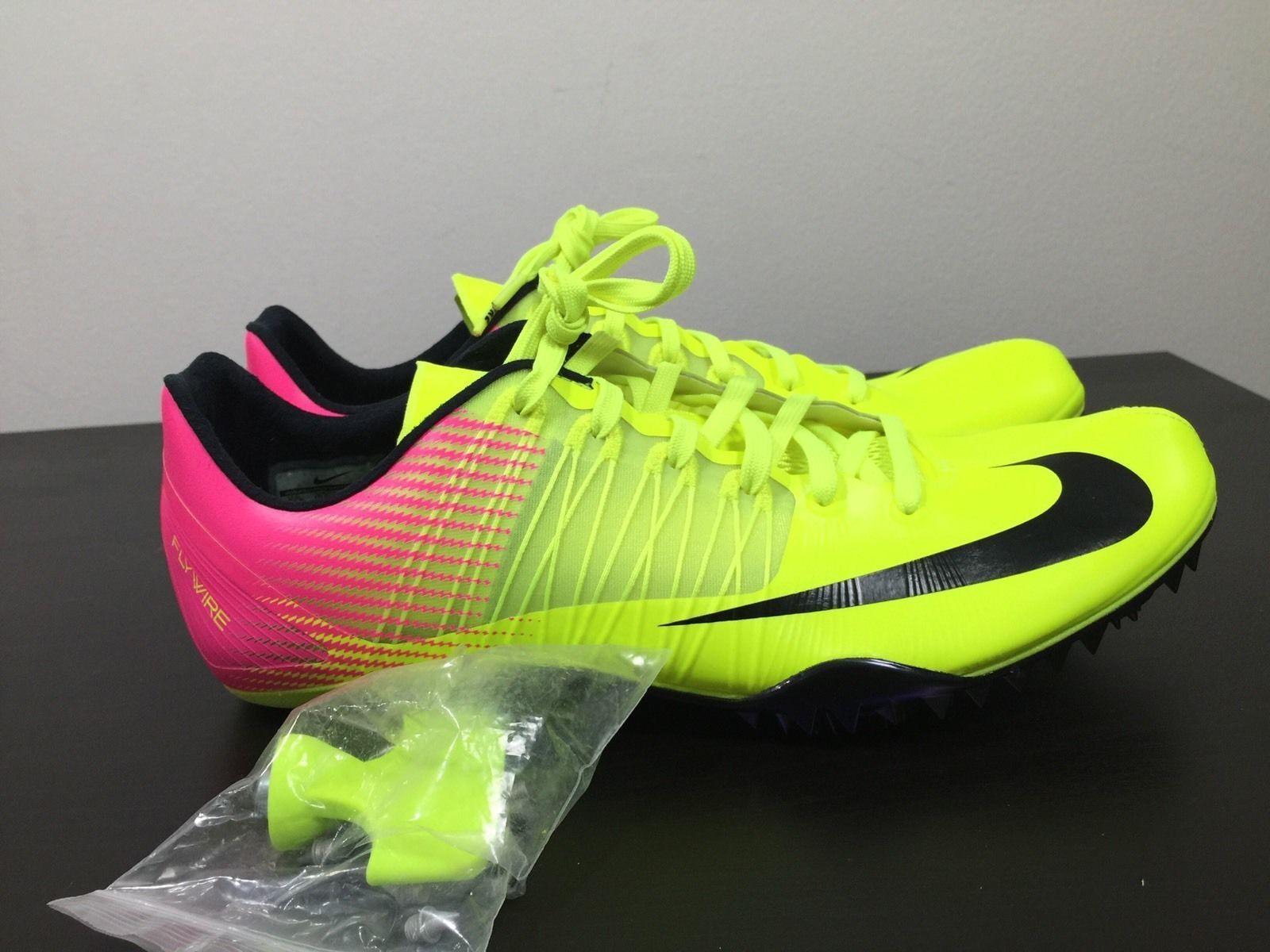 New Mens Nike Zoom Celar 5 Spikes Running Shoes Volt Pink Blk 629226-999 Sz 11.5