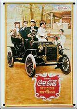 COCA COLA ANTIQUE CAR Small Vintage Metal Tin Pub Sign