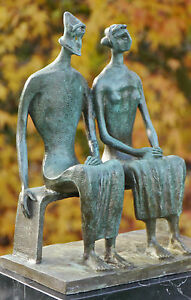 KING-amp-QUEEN-LOVELY-UNIQUE-ABSTRACT-CONTEMPORARY-PURE-BRONZE-SCULPTURE-STATUE
