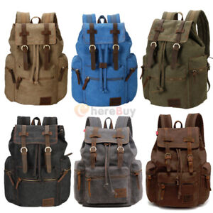 35L-Vintage-Canvas-Backpack-Travel-Sport-Rucksack-Satchel-Hiking-School-Bag-New