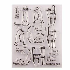 Cute Cat Silicone Clear Stamp Seal Scrapbook Embossing Album Decor Craft DIY Art
