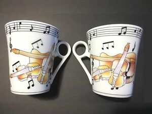 """VIOLINS w MUSIC NOTES"""" 2 PORCELAIN 8 oz COFFEE CUPS \"""