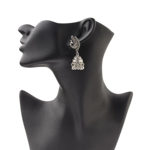 Women/'s Silver Antique Ethnic Small Bell Drop Indian Bollywood Earrings jhumka