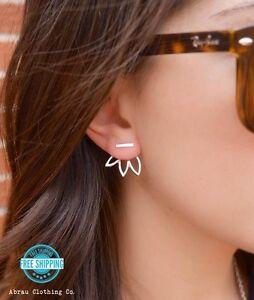 Gold-or-Silver-Open-Lotus-Flower-Petal-Ear-Jacket-Stud-Post-Fashion-Earrings-USA