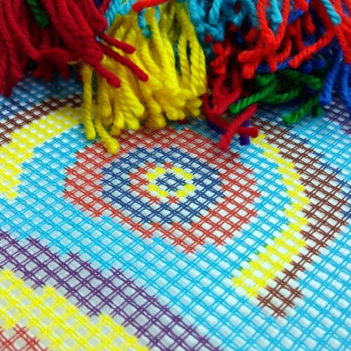 """Needlepoint//Tapestry Pillow Cover DIY Kit /""""Rainbow Circles/"""""""