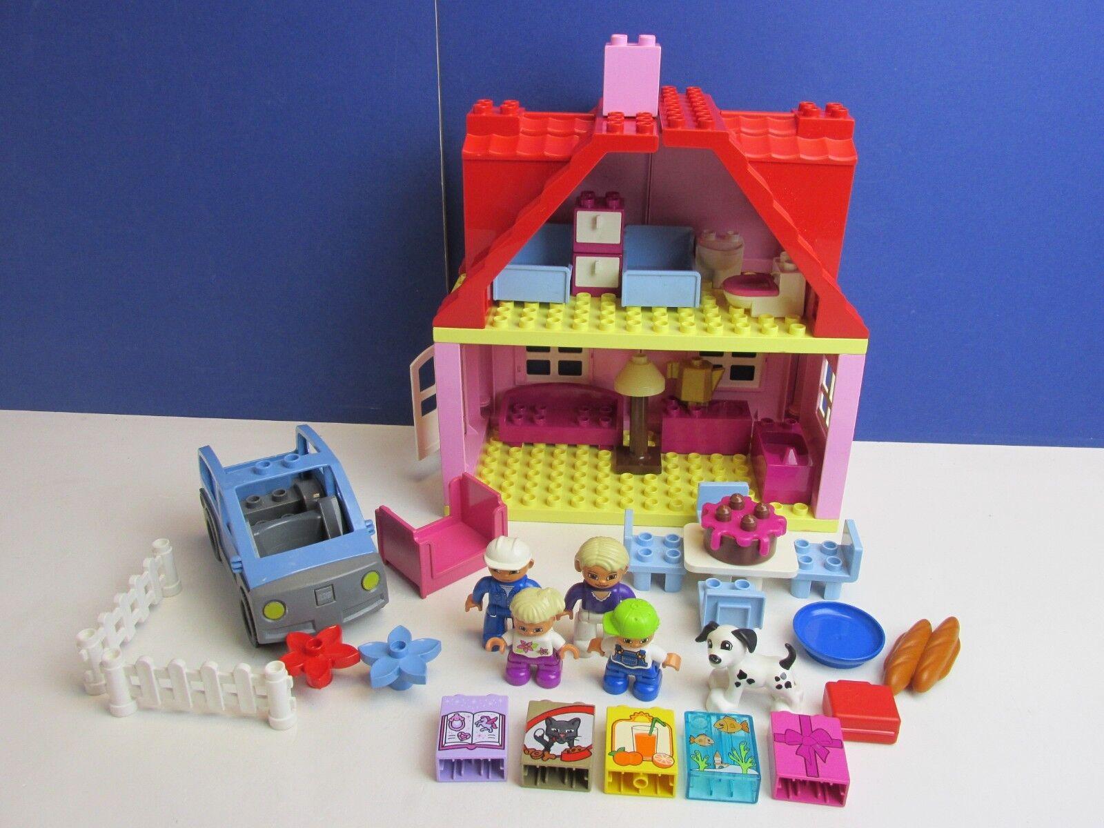 DUPLO LEGO Maison Rose Maman Papa famille Figure Set Voiture Cuisine Salon chambre à coucher 62B