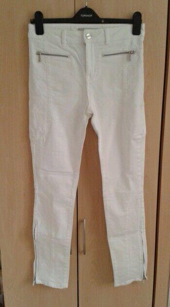 Karen Millen White Skinny fit Jeans Denim trousers Pants ankle zips size 10