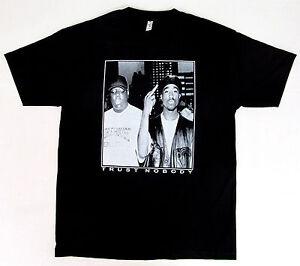 8309d838cb5 TUPAC BIGGIE TRUST NOBODY T-shirt NOTORIOUS B.I.G 2PAC Tee Adult S ...