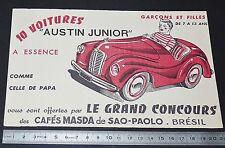 BUVARD 1950 CAFES MASDA SAO PAULO BRASIL BRESIL VOITURE AUSTIN JUNIOR