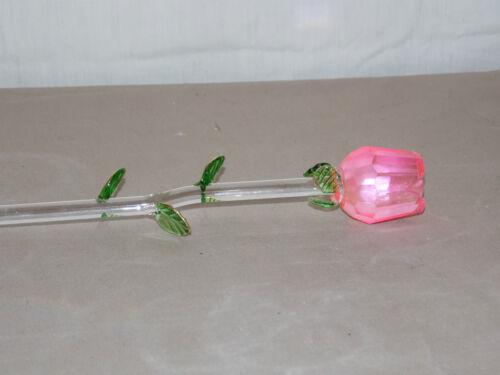 "NEW GORGEOUS 14/"" LONG STEMMED PINK COLOR ROSE GLASS FLOWER  BUD VALENTINES"