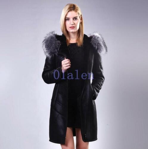 et à femmes Veste capuche chaude fourrure de pour avec ceinture vison longue mi R5qP5Aw