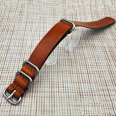 Mens Leather Army Military Watch Strap Band 18/20/22mm Black Brown VG