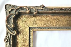 VINTAGE FITS 8X10 GOLD GILT PICTURE FRAME WOOD FINE ART COUNTRY PRIMITIVE ORNATE