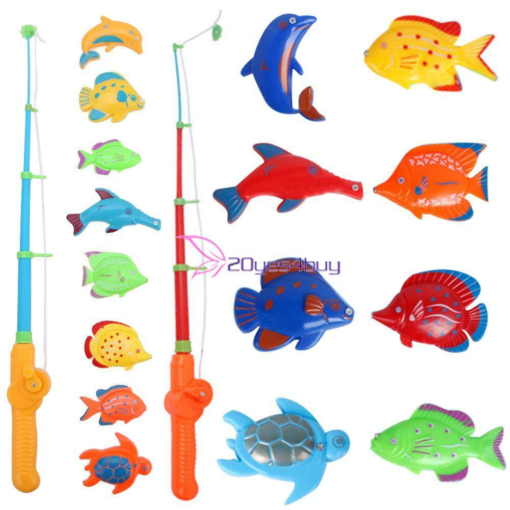 8 Fish Catch Hook Pull Magnetic Fishing Toy Rod Fishing Games Set ...
