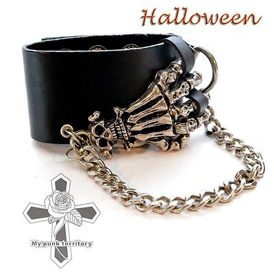Unisex Halloween Skeleton Hand Chains Rock Faux Leather Hot Topic Punk Wristband