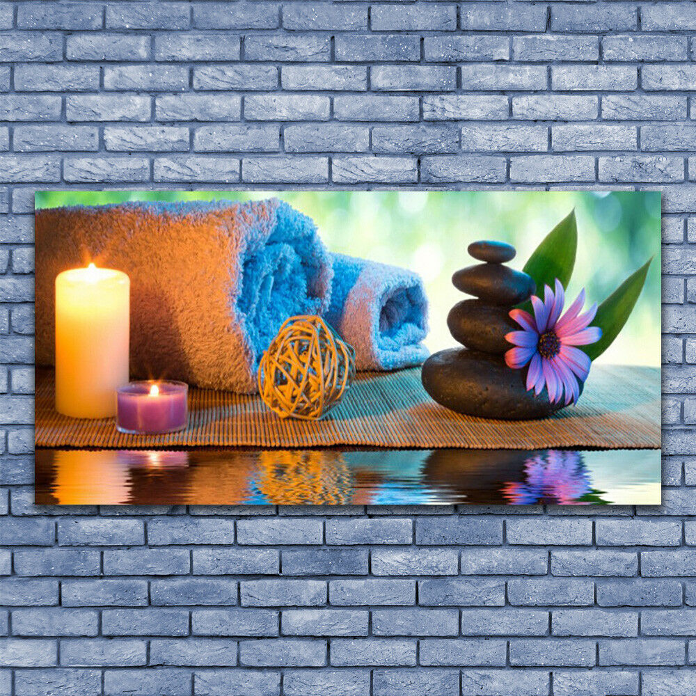 Print on Glass Wall art 140x70 Picture Image Candles Stones Flower Art