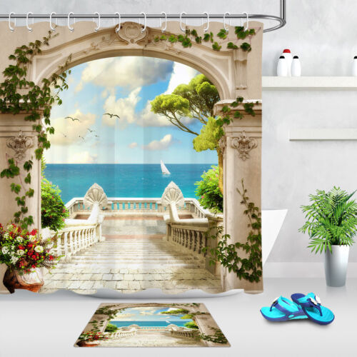 """Arch Stairs Balcony Landscape Sea View Waterproof Fabric Shower Curtain Set 72/"""""""
